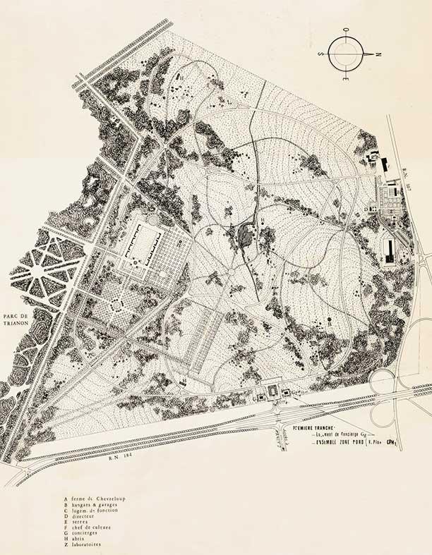 Projet d'aménagement du domaine de Chèvreloup par L.M. Lafon en 1966.